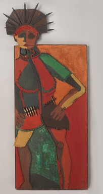 Dindga McCannon (American, born 1947). <em>Revolutionary Sister</em>, 1971. Mixed media construction on wood, 62 x 27 in. (157.5 x 68.6 cm). Brooklyn Museum, Gift of R.M. Atwater, Anna Wolfrom Dove, Alice Fiebiger, Joseph Fiebiger, Belle Campbell Harriss, and Emma L. Hyde, by exchange, Designated Purchase Fund, Mary Smith Dorward Fund, Dick S. Ramsay Fund, and  Carll H. de Silver Fund, 2012.80.32. © artist or artist's estate (Photo: , 2012.80.32_PS9.jpg)