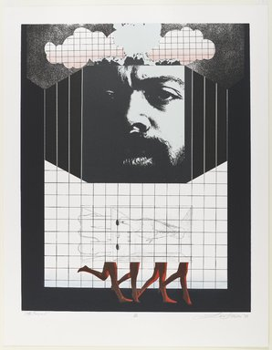 Lev T. Mills (American, born 1940). <em>Le Roi...?</em>, 1972. Screenprint on paper with colored-pencil additions, Image: 23 1/2 x 19 1/2 in. (59.7 x 49.5 cm). Brooklyn Museum, Gift of R.M. Atwater, Anna Wolfrom Dove, Alice Fiebiger, Joseph Fiebiger, Belle Campbell Harriss, and Emma L. Hyde, by exchange, Designated Purchase Fund, Mary Smith Dorward Fund, Dick S. Ramsay Fund, and  Carll H. de Silver Fund, 2012.80.35. © artist or artist's estate (Photo: Brooklyn Museum, 2012.80.35_PS4.jpg)