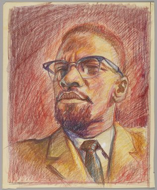 "Alfred ""Al"" Tyler (American, 1933-2010). <em>Malcolm X</em>, ca. 1975. Crayon on paper, Sheet: 14 x 11 in. (35.6 x 27.9 cm). Brooklyn Museum, Gift of R.M. Atwater, Anna Wolfrom Dove, Alice Fiebiger, Joseph Fiebiger, Belle Campbell Harriss, and Emma L. Hyde, by exchange, Designated Purchase Fund, Mary Smith Dorward Fund, Dick S. Ramsay Fund, and  Carll H. de Silver Fund, 2012.80.43. © artist or artist's estate (Photo: Brooklyn Museum, 2012.80.43_PS4.jpg)"