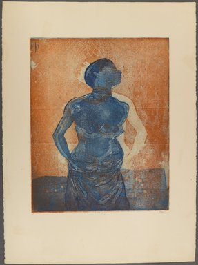 Kay Brown (American, 1932-2012). <em>First Kick of Life</em>, ca. 1974. Color etching and aquatint, printed in blue and orange, on moderately thick, moderately textured wove paper, plate: 19 3/4 x 15 3/4 in. (50.2 x 40 cm). Brooklyn Museum, Gift of R.M. Atwater, Anna Wolfrom Dove, Alice Fiebiger, Joseph Fiebiger, Belle Campbell Harriss, and Emma L. Hyde, by exchange, Designated Purchase Fund, Mary Smith Dorward Fund, Dick S. Ramsay Fund, and  Carll H. de Silver Fund, 2012.80.9. © artist or artist's estate (Photo: Brooklyn Museum, 2012.80.9_PS4.jpg)