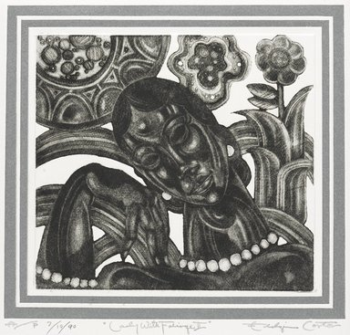 Eldzier Cortor (American, 1916-2015). <em>Lady with Foliage II</em>. Mezzotint, 22 x 18 1/4 in. (55.9 x 46.4 cm). Brooklyn Museum, Gift of Eldzier Cortor in memory of Sophia Cortor, 2012.81.10. © artist or artist's estate (Photo: Brooklyn Museum, 2012.81.10_PS9.jpg)