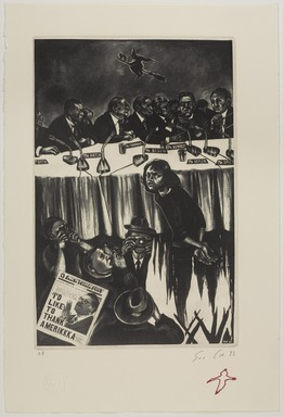 Sue Coe (British, born 1951). <em>Untitled (Anita Hill Trial)</em>, 1992. Etching on paper, 20 x 13 1/4 in. (50.8 x 33.7 cm). Brooklyn Museum, Gift of Marco Nocella, 2012.90. © artist or artist's estate (Photo: , 2012.90_PS9.jpg)