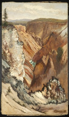 Grafton Tyler Brown (American, 1841-1918). <em>Grand Canyon, Yellowstone</em>, 1886. Oil on canvas, Canvas: 29 3/4 x 17 1/2 in. (75.6 x 44.5 cm). Brooklyn Museum, Gift of Milton and Nancy Washington, 2012.92 (Photo: Brooklyn Museum, 2012.92_PS6.jpg)