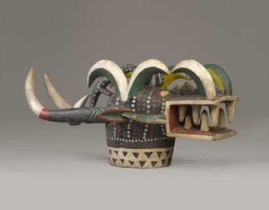 Senufo. <em>Mask (Kponyugu)</em>, late 20th century. Wood, paint, 14 3/16 x 13 x 33 7/16 in. (36 x 33 x 85 cm). Brooklyn Museum, Gift of Susan Vogel, 2012.94. Creative Commons-BY (Photo: Brooklyn Museum, 2012.94_threequarter_PS9.jpg)