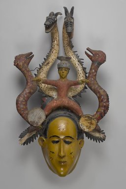 Temne. <em>Mask for the Ode-Lay Society</em>, mid-20th century. Wood, paint, plastic, metal, 29 1/2 x 16 15/16 x 8 1/4 in. (75 x 43 x 21 cm). Brooklyn Museum, Gift of Dr. and Mrs. Milton Gross, by exchange, 2013.25. Creative Commons-BY (Photo: Brooklyn Museum, 2013.25_PS9.jpg)