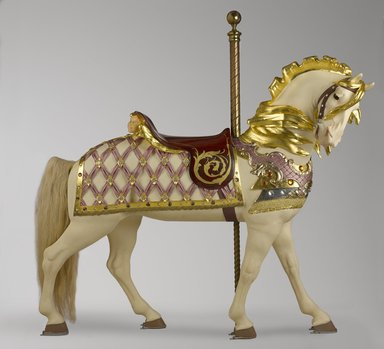Possibly Marcus Charles Illions (American, born Lithuania, 1866-1950). <em>Carousel Horse, Southern Belle</em>, ca. 1910. Wood, pigment, gilding, glass, metal, Approximate dimensions of horse only: 58 x 19 x 58 in. (147.3 x 48.3 x 147.3 cm). Brooklyn Museum, Bequest of Marianne S. Stevens, 2013.49a-e. Creative Commons-BY (Photo: Brooklyn Museum, 2013.49a-e_view1_PS9.jpg)