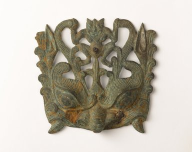 <em>Animal Mask (Taotie)</em>, ca. 6th century. Bronze, width: 6 1/2 in. (16.5 cm). Brooklyn Museum, Gift of Stanley J. Love and Mrs. Walter N. Rothschild, by exchange, Frank L. Babbott Fund, Museum Collection Fund, and Designated Purchase Fund, 2013.65 (Photo: Brooklyn Museum, 2013.65_PS9.jpg)