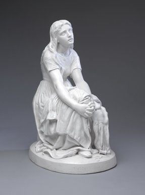 "Karl L. H. Mueller (American, born Germany, 1820-1887). <em>Figure, ""Stitch, Stitch, Stitch""</em>, ca. 1875. Matte-glazed porcelain, 19 x 10 x 13 in. (48.3 x 25.4 x 33 cm). Brooklyn Museum, Purchase gift of Richard J. Schwartz and H. Randolph Lever Fund, 2013.75 (Photo: Brooklyn Museum, 2013.75_front_PS9.jpg)"