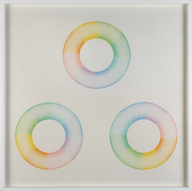 Judy Chicago (American, born 1939). <em>Untitled Donut Drawing</em>, 1968. Colored Pencil with graphite under drawing, frame: 28 × 28 × 1 3/4 in. (71.1 × 71.1 × 4.4 cm). Brooklyn Museum, Gift of the Paula Hays Harper Trust, 2013.79. © artist or artist's estate (Photo: , 2013.79_PS9.jpg)