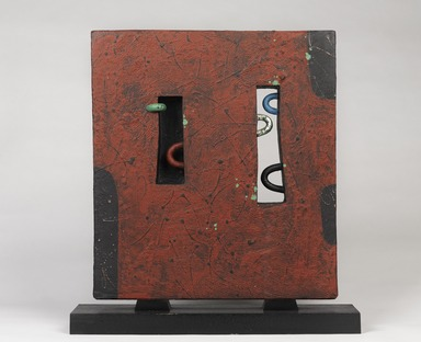 Morino Taimei (Japanese, born 1934). <em>Slab Sculpture</em>, 1990. Ceramic, wood, and platinum leaf, with base: 20 1/4 × 18 7/8 × 5 3/4 in. (51.4 × 47.9 × 14.6 cm). Brooklyn Museum, Gift of Shelly and Lester Richter, 2013.83.16. Creative Commons-BY (Photo: , 2013.83.16_front_PS9.jpg)
