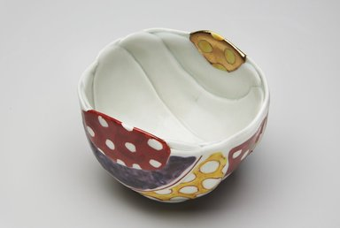 Matsuda Yuriko (Japanese, born 1943). <em>Tea Bowl</em>, 1990. Porcelain with overglaze enamels and gold, 3 9/16 x 4 3/4 in. (9 x 12 cm). Brooklyn Museum, Gift of Shelly and Lester Richter, 2013.83.43. Creative Commons-BY (Photo: Brooklyn Museum, 2013.83.43_top1_PS11.jpg)