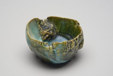 Shigemasa Higashida (Japanese, born 1955). <em>Sake Cup</em>, 1990. Glazed stoneware; oribe ware, 2 3/16 x 2 3/4 in. (5.5 x 7 cm). Brooklyn Museum, Gift of Shelly and Lester Richter, 2013.83.48. Creative Commons-BY (Photo: Brooklyn Museum, 2013.83.48_PS11.jpg)