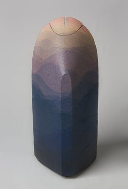 Miyashita Zenji (Japanese, 1939-2012). <em>Vase with Lid</em>, ca. 1988-1993. Layered colored clay with clear glaze, TL2013.35.6b: 11 13/16 x 3 15/16 in. (30 x 10 cm). Brooklyn Museum, Gift of Shelly and Lester Richter, 2013.83.7a-b. Creative Commons-BY (Photo: Brooklyn Museum, 2013.83.7a-b_PS11.jpg)