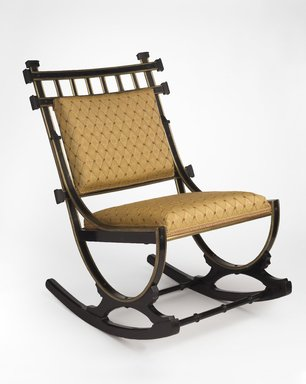 George Jacob Hunzinger (American, born Germany, 1835-1898). <em>Rocking Chair</em>, ca. 1879. Wood, metal (brass), orignal under-upholstery, modern show cover and trim., 30 1/4 x 20 3/4 x 26 1/2 in. (76.8 x 52.7 x 67.3 cm). Brooklyn Museum, H. Randolph Lever Fund, 2013.88 (Photo: Brooklyn Museum, 2013.88_PS9.jpg)