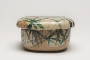 Attributed to Ogata Kenzan (Japanese, 1663-1743). <em>Food Container and Cover</em>, 18th century. Glazed earthenware Brooklyn Museum, Gift of Dr. and Mrs. Richard Dickes, 2014.107.2a-b (Photo: Brooklyn Museum, 2014.107.2a-b_overall_PS11.jpg)