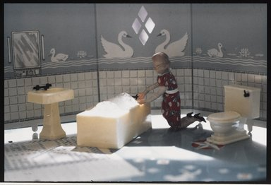 Laurie Simmons (American, born 1949). <em>Bathroom</em>, ca. 1978. Color photograph, each photograph: 2 7/8 x 4 3/8 in. (7.3 x 11.1 cm). Brooklyn Museum, Gift of Susan Wyatt in memory of Ann A. Wyatt, 2014.119.3. © artist or artist's estate (Photo: Brooklyn Museum, 2014.119.3_PS9.jpg)