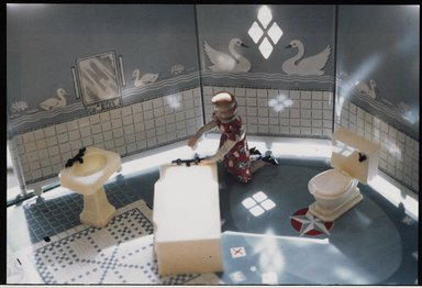 Laurie Simmons (American, born 1949). <em>Bathroom</em>, ca. 1978. Color photograph, each photograph: 2 7/8 x 4 3/8 in. (7.3 x 11.1 cm). Brooklyn Museum, Gift of Susan Wyatt in memory of Ann A. Wyatt, 2014.119.4. © artist or artist's estate (Photo: Brooklyn Museum, 2014.119.4_PS9.jpg)