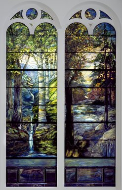 Tiffany Studios (1902-1932). <em>Sunset in Autumn Woods</em>, 1905. Stained glass window, approx.: 150 x 43 in. (381 x 109.2 cm). Brooklyn Museum, Gift of All Souls Bethlehem Church, 2014.17.2. Creative Commons-BY (Photo: , 2014.17.1_2014.17.2_edited_version_SL3.jpg)