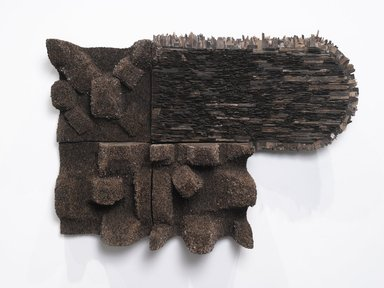 Leonardo Drew (American, born 1961). <em>Number 153</em>, 2012. Wood, 50 x 71 1/2 x 28 in. (127 x 181.6 x 71.1 cm). Brooklyn Museum, Gift of the Contemporary Art Acquisitions Committee, 2014.38a-d. © artist or artist's estate (Photo: Brooklyn Museum, 2014.38a-d_PS4.jpg)