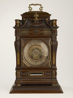 Daniel Cottier (American, born Scotland, 1838-1881). <em>Clock</em>, 1883. Mahogany, brass, other metals, glass, 24 x 15 3/8 x 10 3/4 in. (61 x 39.1 x 27.3 cm). Brooklyn Museum, Marie Bernice Bitzer Fund, 2014.40.2a-e. Creative Commons-BY (Photo: Brooklyn Museum, 2014.40.2a-e_front_PS9.jpg)