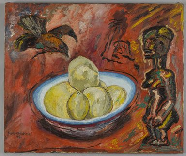Beauford Delaney (American, 1901-1979). <em>Untitled (Fang Sculpture, Crow and Fruit)</em>, 1945. Oil on canvas, 25 x 30 in. (63.5 x 76.2 cm). Brooklyn Museum, Brooklyn Museum Fund for African American Art in honor of Arnold Lehman, A. Augustus Healy Fund and Ella C. Woodward Memorial Fund, 2014.73. © artist or artist's estate (Photo: Brooklyn Museum, 2014.73_PS9.jpg)