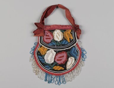 Iroquois. <em>Beaded Bag with Floral Design</em>, ca. 1880. Velvet, glass beads, cloth, ribbon, cotton thread, sequins, Excluding ribbon handle and fringe: 7 × 6 1/2 in. (17.8 × 16.5 cm). Brooklyn Museum, Gift of the Edward J. Guarino Collection in memory of Mauricette (Sue) Castle