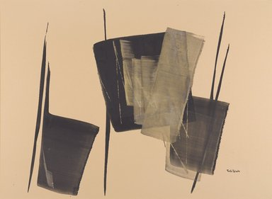 Toko Shinoda (Japanese, born 1912). <em>Fugue</em>, 1982. Silver and Sumi ink on paper mounted on wood panel, 21 x 30 in. (53.3 x 76.2 cm). Brooklyn Museum, Gift of Allison Tolman in honor of Dr. Susan L. Beningson, 2014.81. © artist or artist's estate (Photo: Brooklyn Museum, 2014.81_PS9.jpg)