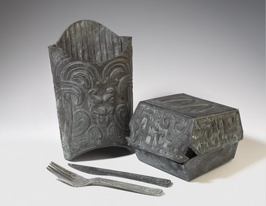 Zhang Hongtu (Chinese, born 1943). <em>Mai Dang Lao (McDonald's)</em>, 2002. Cast Bronze, box of fries: 7 1/4 × 4 3/4 × 2 1/4 in. (18.4 × 12.1 × 5.7 cm). Brooklyn Museum, Gift of the artist, 2014.82a-d. © artist or artist's estate (Photo: Brooklyn Museum, 2014.82a-d_PS9.jpg)