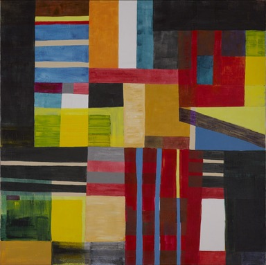Atta Kwami (Ghanaian, born 1956). <em>Another Time (Ɣebubuɣi)</em>, 2011. Acrylic on linen, 59 3/4 × 59 3/4 in. (151.8 × 151.8 cm). Brooklyn Museum, Designated Purchase Fund, 2015.40. © artist or artist's estate (Photo: , 2015.40_PS9.jpg)