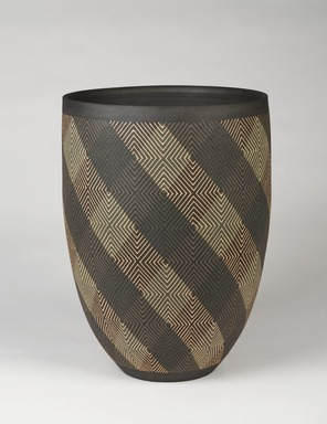 Maeda Hideo (Japanese, born 1943). <em>Flower Vessel</em>, 2013. Stoneware inlaid with colored slips, height: 16 3/4 in. (42.5 cm). Brooklyn Museum, Gift of the artist, 2015.49. © artist or artist's estate (Photo: , 2015.49_PS9.jpg)