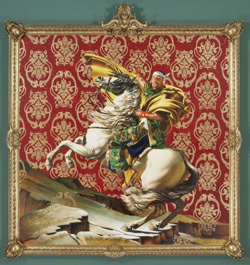 "Yea I love Kehinde Wiley's work. It's so dense with figurative meaning, but still has so much personality. My first experience with his painting was encountering his adaptation of Napoleon leading his army across the Alps  - I remember being awestruck by the massive size, then getting up really close and seeing the tiny details in it. The red ""velvet"" of the framing is actually painted as well, and has 1000s of teeny little sperm swimming through it."
