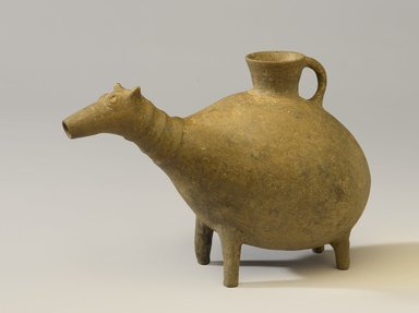 <em>Vessel in the Form of a Quadruped</em>, 250-50 B.C.E. Clay, slip, 7 1/4 x length 10 11/16 in. (18.4 x 27.1 cm). Brooklyn Museum, Gift of the Arthur M. Sackler Foundation, NYC, in memory of James F. Romano, 2015.65.11. Creative Commons-BY (Photo: Brooklyn Museum, 2015.65.11_PS9.jpg)