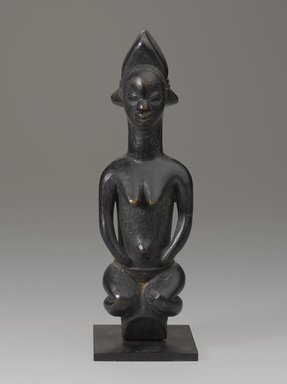 Punu artist. <em>Figure of a Female</em>. Wood, pigment, with mount: 9 1/4 x 3 in. (23.5 x 7.6 cm). Brooklyn Museum, Gift of the Ralph and Fanny Ellison Charitable Trust, 2015.88.5. Creative Commons-BY (Photo: Brooklyn Museum, 2015.88.5_front_PS9.jpg)