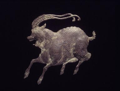 <em>Plaque of a Ram</em>, 618-907. Silver, 5 x 6 in. (12.7 x 15.2 cm). Brooklyn Museum, Gift of Jane and Leopold Swergold, 2015.93 (Photo: Brooklyn Museum, 2015.93_transp5373.jpg)