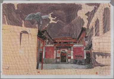 Chen Yujun (Chinese, born 1976). <em>Old House in the Spring</em>, 2007-2008. Watercolor and acrylic on paper, 22 × 31 in. (55.9 × 78.7 cm). Brooklyn Museum, Gift of Stephen O. Lesser, 2016.13.5. © artist or artist's estate (Photo: , 2016.13.5_PS9.jpg)