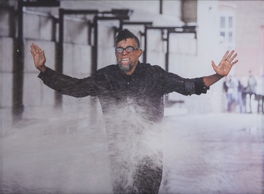 Dread Scott (American, born 1965). <em>On the Impossibility of Freedom in a Country Founded on Slavery and Genocide, Performance Still 2</em>, 2016. Inkjet print, 43 1/8 × 58 1/8 in. (109.5 × 147.6 cm). Brooklyn Museum, Gift of the Contemporary Art Acquisitions Committee, 2016.25.2. © artist or artist's estate (Photo: , 2016.25.2_PS9.jpg)