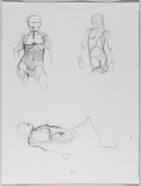 Jeremy Deller (British, born 1966). <em>Untitled (Three Poses: Standing; View from Front; Standing, View from Back; and Lying) from Iggy Pop Life Class by Jeremy Deller</em>, 2016. Natural charcoal and compressed charcoal pencil with erasing on paper, 24 x 18 in. (61 x 45.7 cm). Brooklyn Museum, Brooklyn Museum Collection, 2016.3.10a. © artist or artist's estate (Photo: Brooklyn Museum, 2016.3.10a_PS9.jpg)
