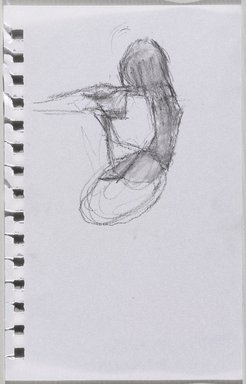 Jeremy Deller (British, born 1966). <em>Untitled (Sitting Pose) from Iggy Pop Life Class by Jeremy Deller</em>, 2016. Natural charcoal and compressed charcoal pencil with erasing on paper, 8 1/4 x 5 1/4 in. (21 x 13.3 cm). Brooklyn Museum, Brooklyn Museum Collection, 2016.3.10b. © artist or artist's estate (Photo: Brooklyn Museum, 2016.3.10b_PS9.jpg)