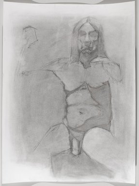 Jeremy Deller (British, born 1966). <em>Untitled (Seated Pose) from Iggy Pop Life Class by Jeremy Deller</em>, 2016. Natural charcoal and compressed charcoal pencil with erasing on paper, 24 x 18 in. (61 x 45.7 cm). Brooklyn Museum, Brooklyn Museum Collection, 2016.3.10c. © artist or artist's estate (Photo: Brooklyn Museum, 2016.3.10c_PS9.jpg)