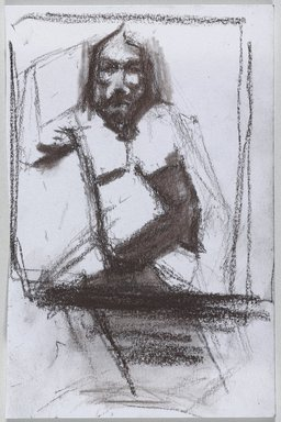 Jeremy Deller (British, born 1966). <em>Untitled (Seated Pose) from Iggy Pop Life Class by Jeremy Deller</em>, 2016. Brown crayon on paper, 6 x 4 in. (15.2 x 10.2 cm). Brooklyn Museum, Brooklyn Museum Collection, 2016.3.10d. © artist or artist's estate (Photo: Brooklyn Museum, 2016.3.10d_PS9.jpg)