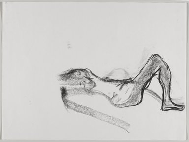 Jeremy Deller (British, born 1966). <em>Untitled (Lying Pose) from Iggy Pop Life Class by Jeremy Deller</em>, 2016. Natural charcoal and compressed charcoal with erasing on paper, 18 x 23 7/8 in. (45.7 x 60.6 cm). Brooklyn Museum, Brooklyn Museum Collection, 2016.3.11b. © artist or artist's estate (Photo: Brooklyn Museum, 2016.3.11b_PS9.jpg)