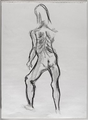 Jeremy Deller (British, born 1966). <em>Untitled (Standing Pose) from Iggy Pop Life Class by Jeremy Deller</em>, 2016. Natural charcoal and compressed charcoal with erasing on paper, 24 3/8 x 18 in. (61.9 x 45.7 cm). Brooklyn Museum, Brooklyn Museum Collection, 2016.3.11c. © artist or artist's estate (Photo: Brooklyn Museum, 2016.3.11c_PS9.jpg)