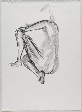 Jeremy Deller (British, born 1966). <em>Untitled (Sitting Pose) from Iggy Pop Life Class by Jeremy Deller</em>, 2016. Natural charcoal and compressed charcoal with erasing on paper, 24 3/8 x 18 in. (61.9 x 45.7 cm). Brooklyn Museum, Brooklyn Museum Collection, 2016.3.11d. © artist or artist's estate (Photo: Brooklyn Museum, 2016.3.11d_PS9.jpg)
