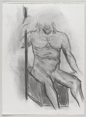Jeremy Deller (British, born 1966). <em>Untitled (Seated Pose) from Iggy Pop Life Class by Jeremy Deller</em>, 2016. Natural charcoal and compressed charcoal with erasing on paper, 24 1/2 x 18 in. (62.2 x 45.7 cm). Brooklyn Museum, Brooklyn Museum Collection, 2016.3.11e. © artist or artist's estate (Photo: Brooklyn Museum, 2016.3.11e_PS9.jpg)