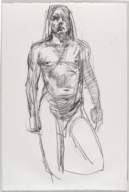 Jeremy Deller (British, born 1966). <em>Untitled (Standing Pose) from Iggy Pop Life Class by Jeremy Deller</em>, 2016. Compressed charcoal on paper, 22 1/4 x 15 in. (56.5 x 38.1 cm). Brooklyn Museum, Brooklyn Museum Collection, 2016.3.12a. © artist or artist's estate (Photo: Brooklyn Museum, 2016.3.12a_PS9.jpg)