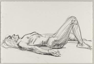 Jeremy Deller (British, born 1966). <em>Untitled (Lying Pose) from Iggy Pop Life Class by Jeremy Deller</em>, 2016. Compressed charcoal on paper, 15 x 22 1/2 in. (38.1 x 57.2 cm). Brooklyn Museum, Brooklyn Museum Collection, 2016.3.12b. © artist or artist's estate (Photo: Brooklyn Museum, 2016.3.12b_PS9.jpg)