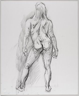 Jeremy Deller (British, born 1966). <em>Untitled (Standing Pose) from Iggy Pop Life Class by Jeremy Deller</em>, 2016. Compressed charcoal on paper, 22 x 18 in. (55.9 x 45.7 cm). Brooklyn Museum, Brooklyn Museum Collection, 2016.3.12c. © artist or artist's estate (Photo: Brooklyn Museum, 2016.3.12c_PS9.jpg)