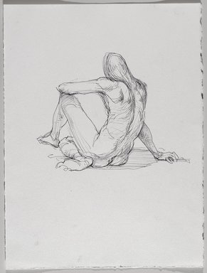 Jeremy Deller (British, born 1966). <em>Untitled (Sitting Pose) from Iggy Pop Life Class by Jeremy Deller</em>, 2016. Black ballpoint pen on paper, 15 x 11 1/4 in. (38.1 x 28.6 cm). Brooklyn Museum, Brooklyn Museum Collection, 2016.3.12d. © artist or artist's estate (Photo: Brooklyn Museum, 2016.3.12d_PS9.jpg)