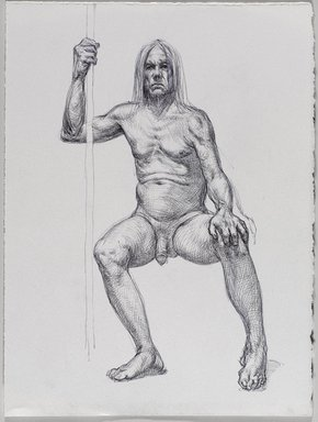 Jeremy Deller (British, born 1966). <em>Untitled (Seated Pose) from Iggy Pop Life Class by Jeremy Deller</em>, 2016. Black ballpoint pen on paper, 15 x 11 1/4 in. (38.1 x 28.6 cm). Brooklyn Museum, Brooklyn Museum Collection, 2016.3.12e. © artist or artist's estate (Photo: Brooklyn Museum, 2016.3.12e_PS9.jpg)