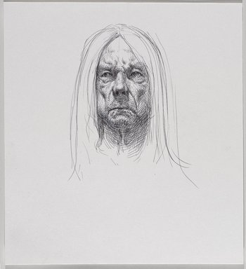 Jeremy Deller (British, born 1966). <em>Untitled (Seated Pose, Detail of Face) from Iggy Pop Life Class by Jeremy Deller</em>, 2016. Black ballpoint pen on paper, 11 x 10 in. (27.9 x 25.4 cm). Brooklyn Museum, Brooklyn Museum Collection, 2016.3.12f. © artist or artist's estate (Photo: Brooklyn Museum, 2016.3.12f_PS9.jpg)